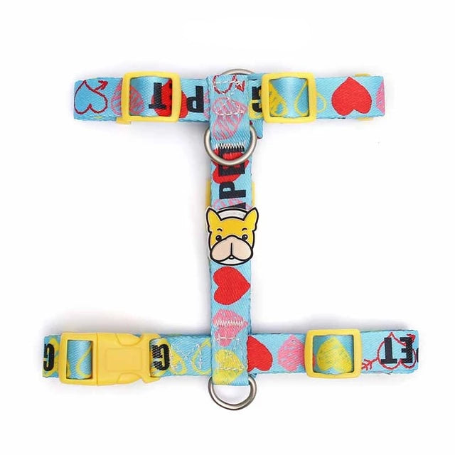 French bulldog harness with or without leash-Outdoor-Alfy & Co-Hearts-S-Alfy & Co