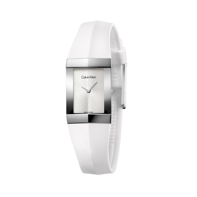 Calvin Klein Ladies White Silver Watch K7C23