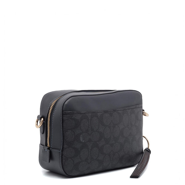 Coach Camera Crossbody Bag In Signature Canvas Black Charcoal 31208