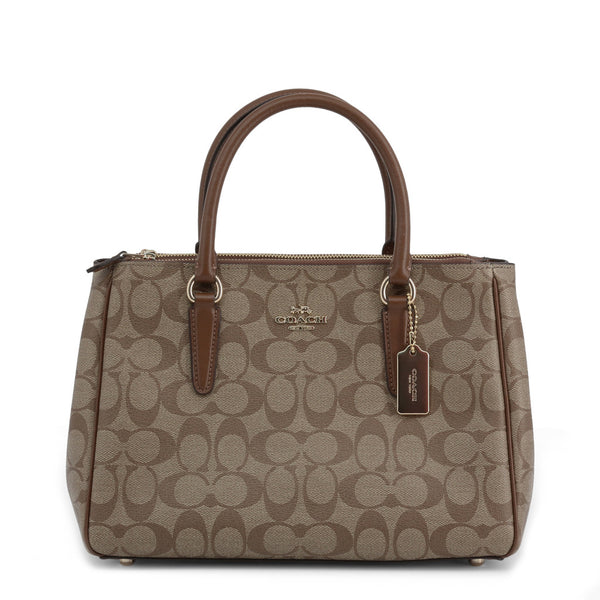 Coach Handbag Brown With Signature Canvas F67026