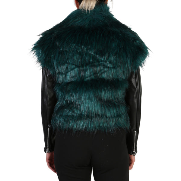 Guess Women's Jacket Black with Green Fur W84L48