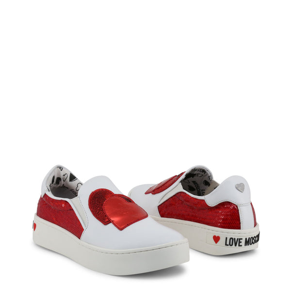 Love Moschino White Red Women's Trainers JA15153G17IO