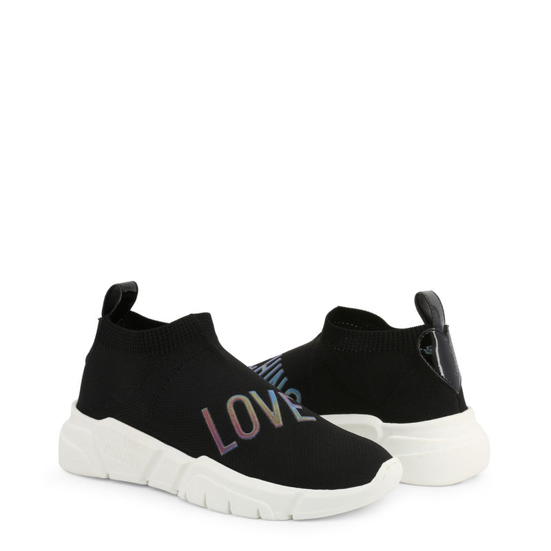 Love Moschino Sock Trainers Black with White Outsole JA15343G18IW