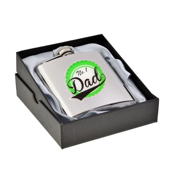 No 1 Dad Badge - Lommelærke i Rustfrit Stål - 17 cl - Lommelærke - Cadogan - the-prince-webshop