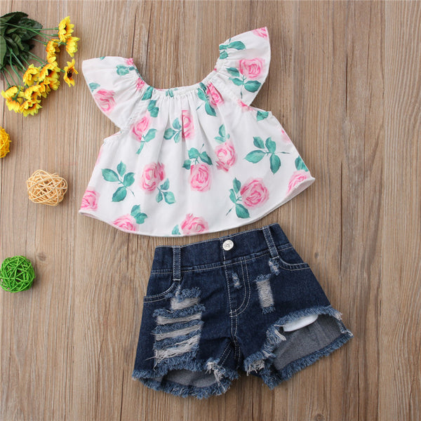 Flower Off Shoulder Top and Shorts Set