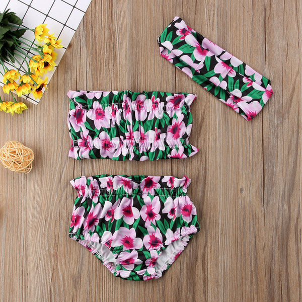 3Pcs Floral Crop Top Set