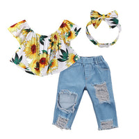 Sunflower Ripped Jeans Set