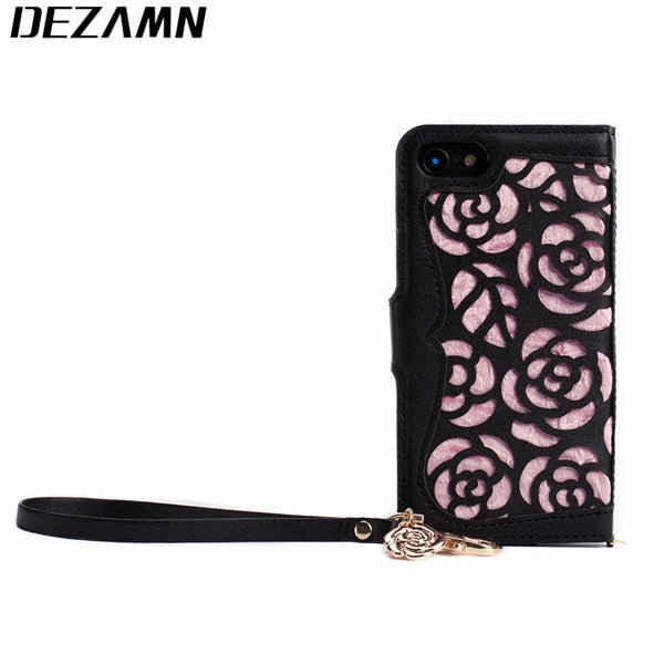 a3cfa65d896 ... For iPhone 8 X 7 5S SE 5 Case 3D Hollow Rose Floral Jewelry Glitty  Leather ...
