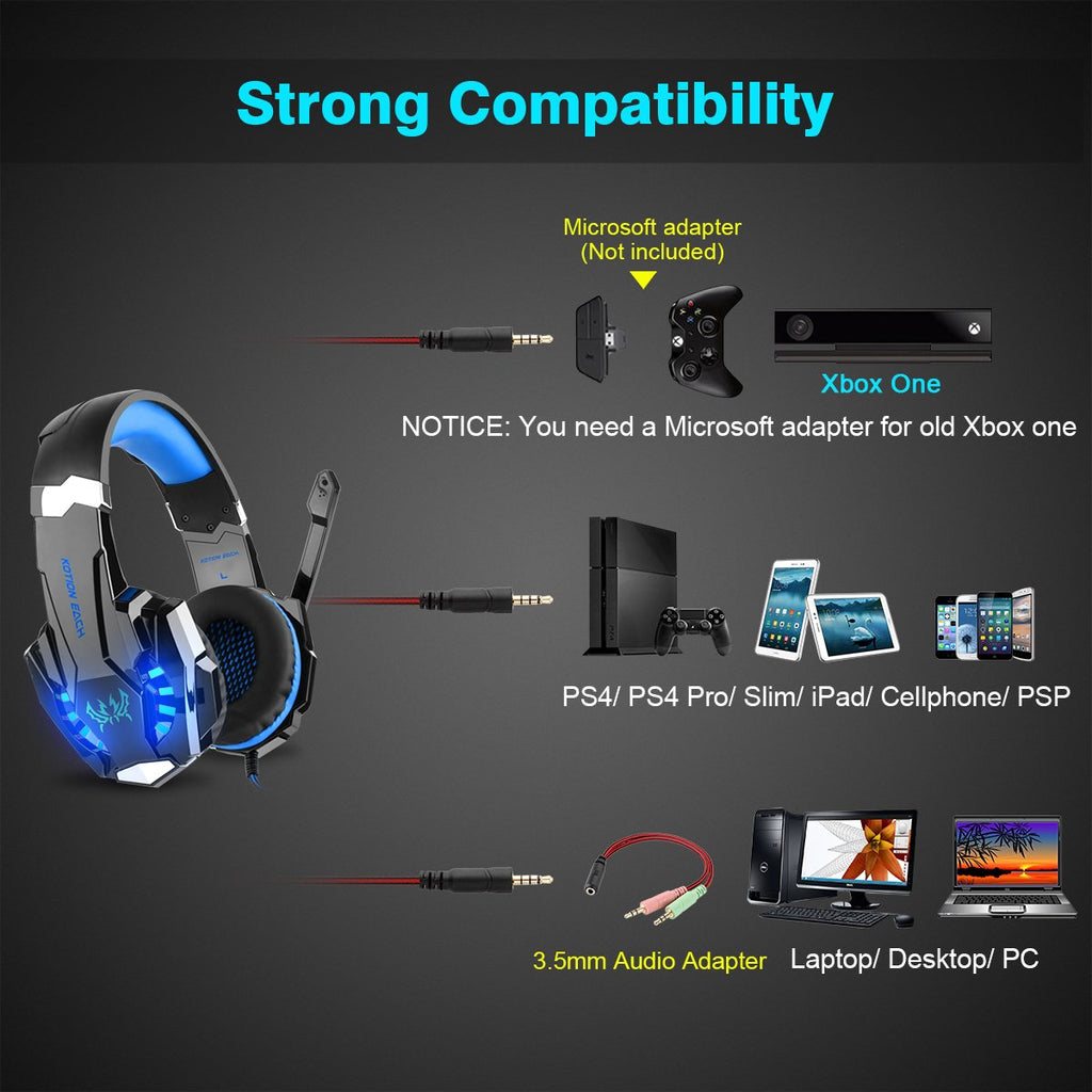 G9000 Gaming Headset with Mic, Bass Surround for PS4, PC