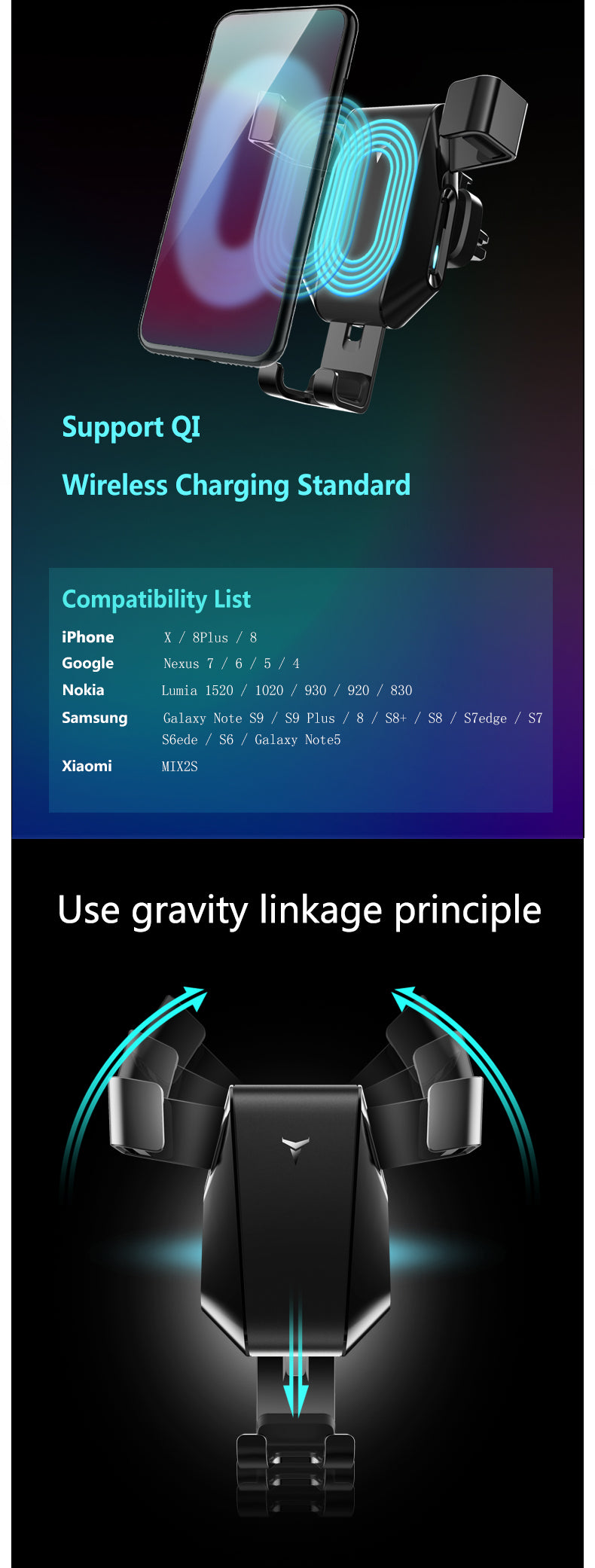 Gravity Holder Car Wireless Charging Mobile Phone Bracket Auto-Sensing Mount