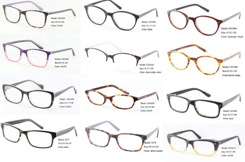 Some types of glasses with varying thickness of the stems and choose glasses for headphones