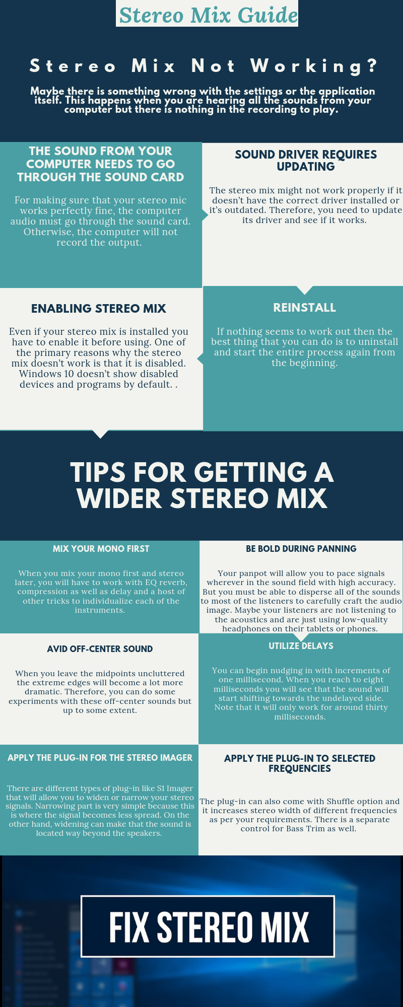fix and tips for stereo mix