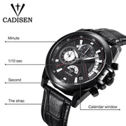 CADISEN Mens Quartz Sports Watch with Stainless or Leather Band (Black/White)-ArkarTech