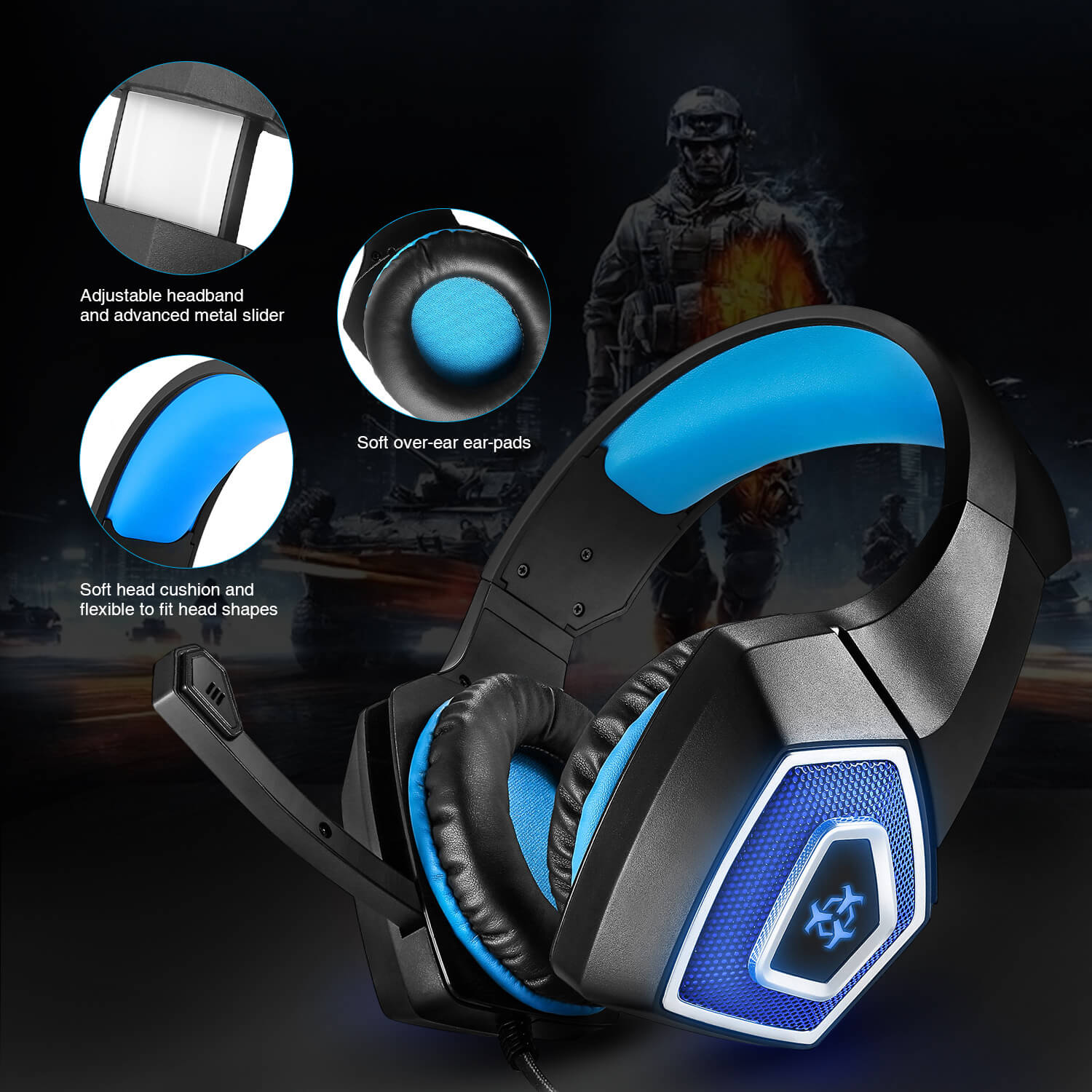 Arkartech V1 Gaming Headset with 7 LED Light for PS4 Xbox one PC ... 5bde34fa75