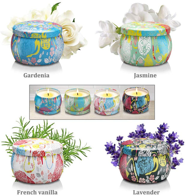 New 4 Fragrances Scented Candle Gift Set Smokeless Aromatherapy
