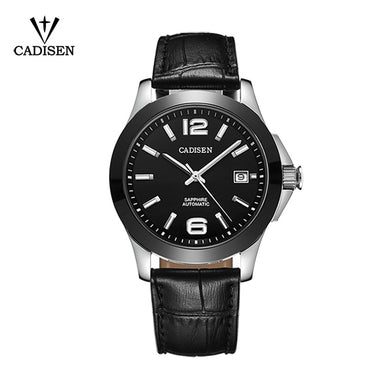 Cadisen Classic Mens AUTO Date automatic Mechanical Watch Black Leather Ceramic Wristwatch