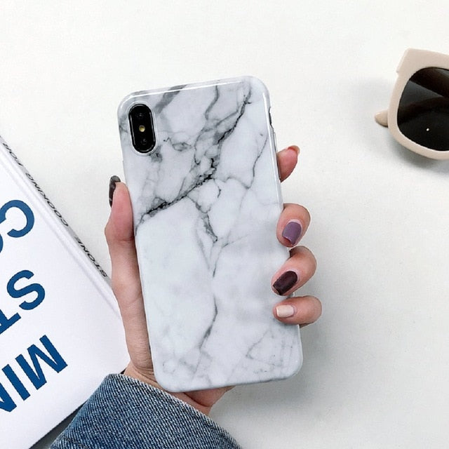 Soft TPU Back Cover Marble Case on For  iPhone 8/8 Plus