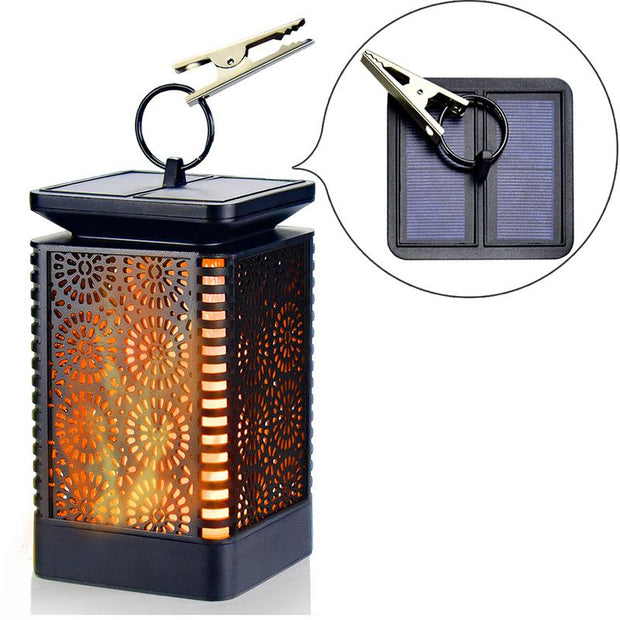 2 packs Led Flame Light Hanging Lantern Waterproof Solar Powered