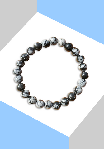 "Bracelet ""Protection & courage"" Obsidienne Neige - Zen-Plénitude-Shop"