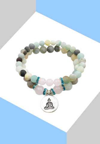 "Bracelet double ""Harmonie"" Pierre d'Amazonite Naturel - Zen-Plénitude-Shop"