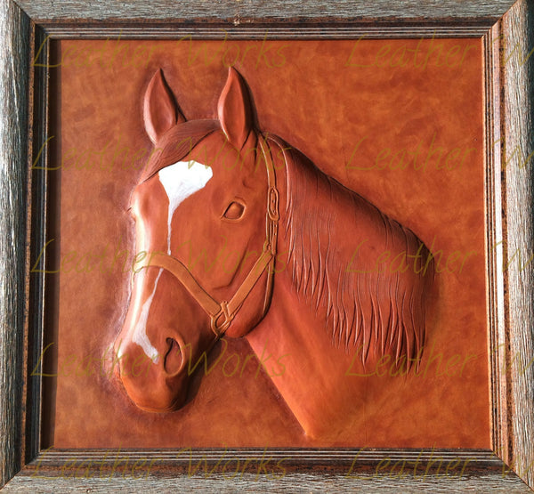 Triangular Horse Leather Framed