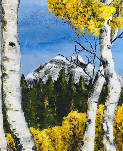 Birch Trees Acrylic Painting