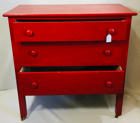 Red 3-drawer Dresser (Upcycled)