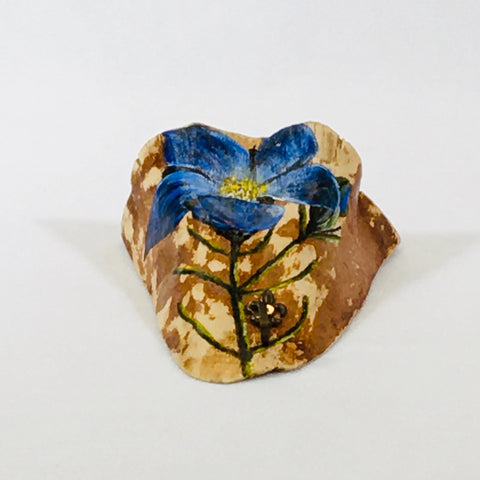 Blue Flower Wall Wood Shelf