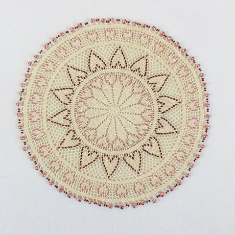 Large beaded mandala doily