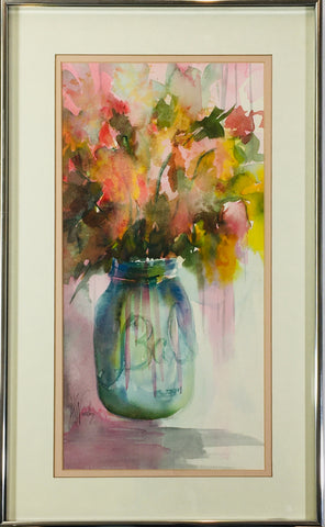 Preloved Ball Jar with flowers watercolor