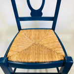 Upcycled Blue Chair with Whicker Weaved Seat