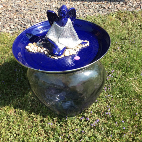 Angel Bird Bath Blue