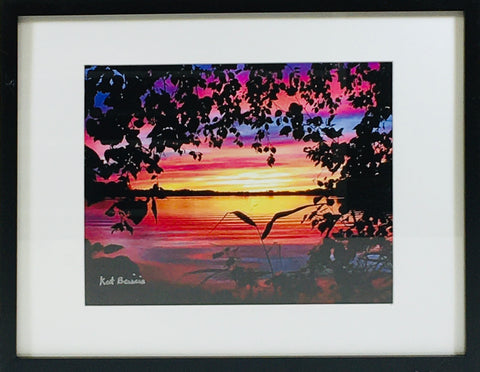 Lake Sunset photo framed