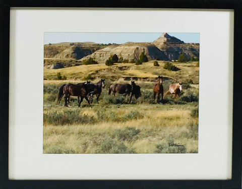 Mountains with Horses photo framed