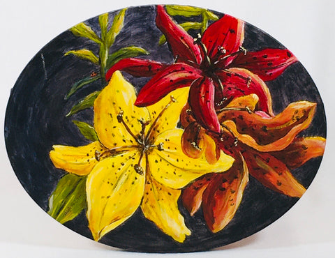 Oval Flowers Acrylic Painting