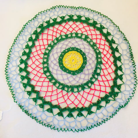 Green Pink Blue Doily