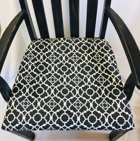 Upcycled Black Chair with Black/White Design Fabric Seat Cover