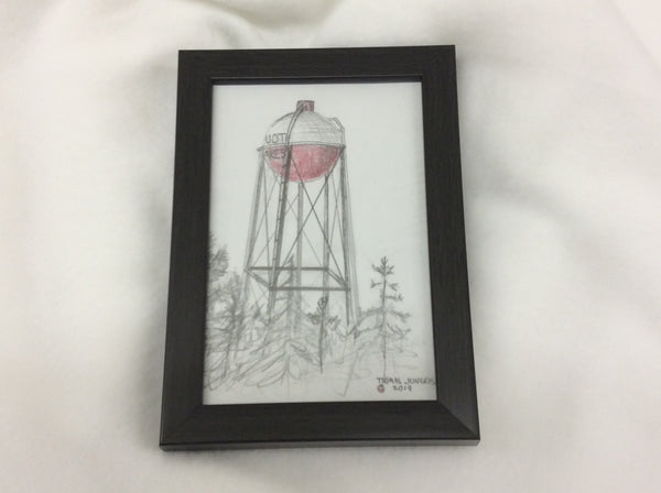 Barber water tower pencil sketch