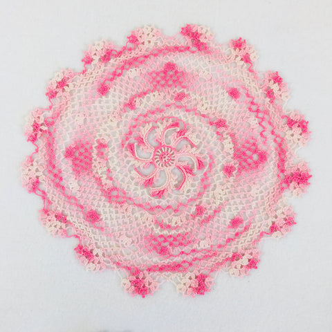 Pink variegated doily
