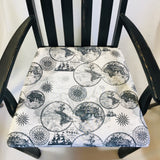 Upcycled Black chair with World Fabric Seat Cover