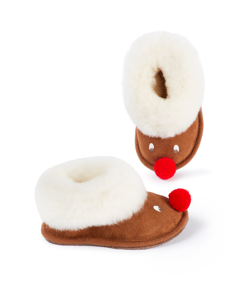Rudolph Kids Sheepskin Slippers