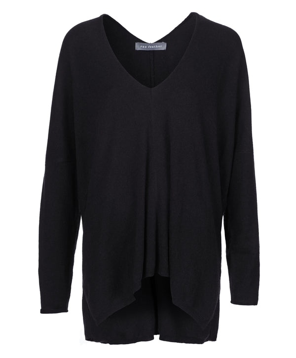 Black Cashmere Wool Blend Waterfall Sweater