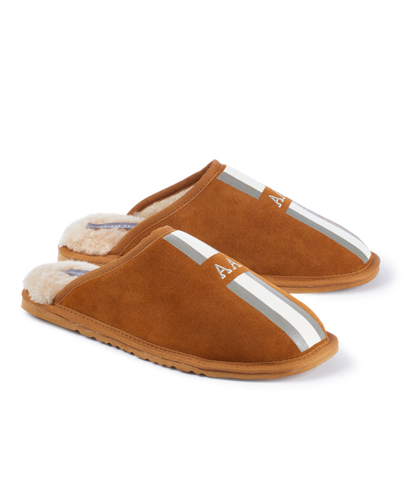Monogram Mens Stripe Slip On Sheepskin Slippers