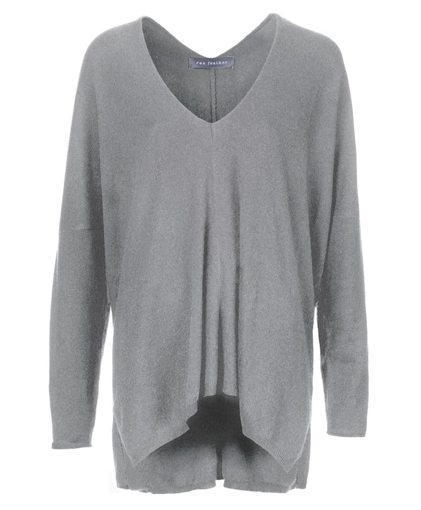 Light Grey Marl Cashmere Wool Blend Waterfall Sweater