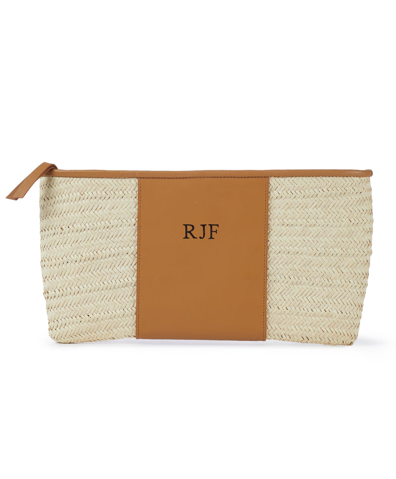 Monogram Grace Straw Clutch