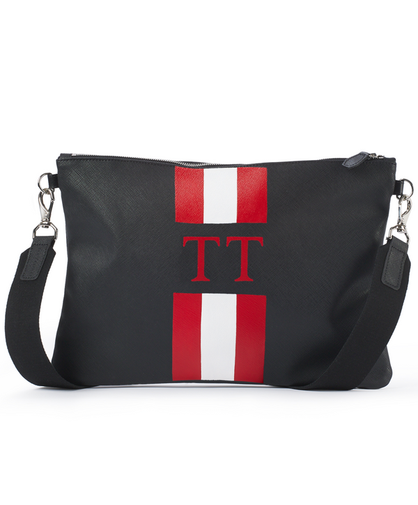 Monogram Stripe Large Cross Body Bag Black