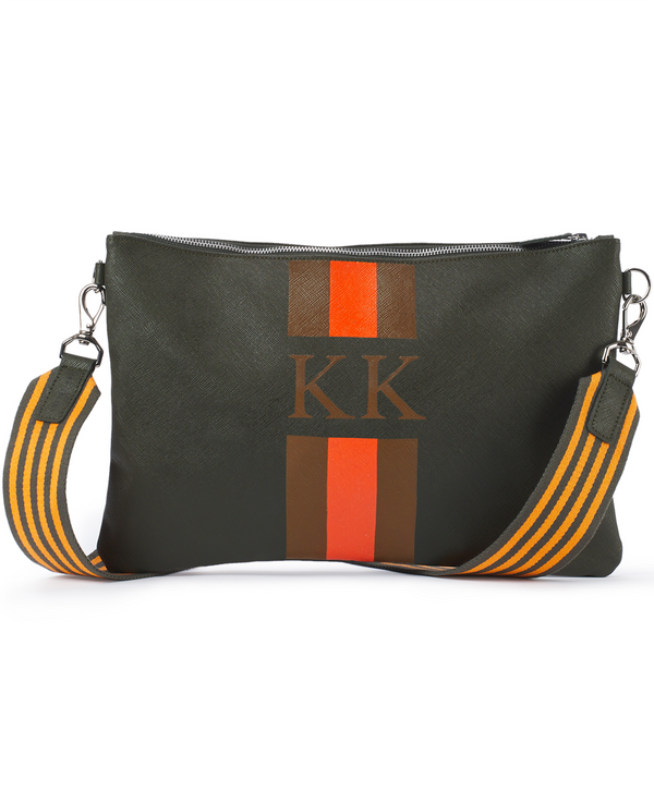 Monogram Stripe Large Cross Body Bag Khaki