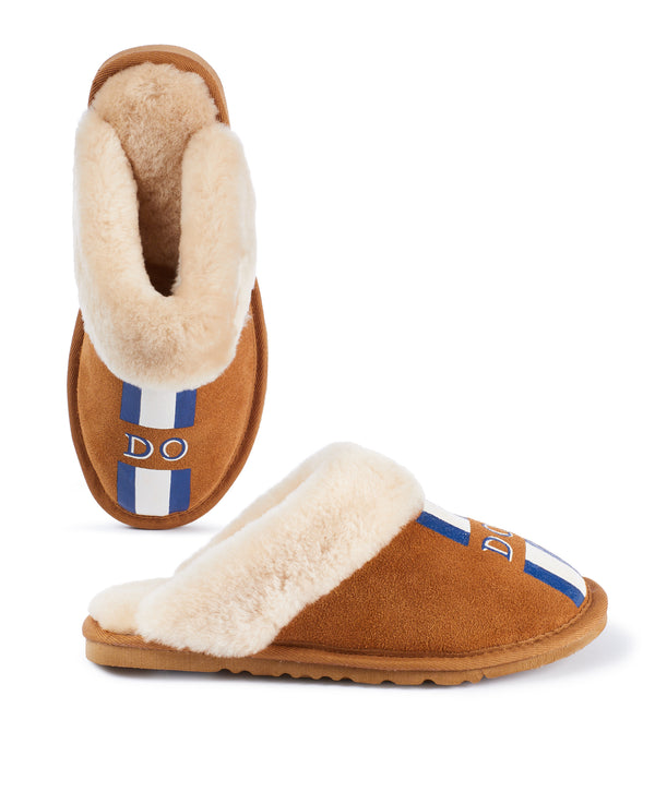 Monogram Womens Stripe Slip On Sheepskin Slippers