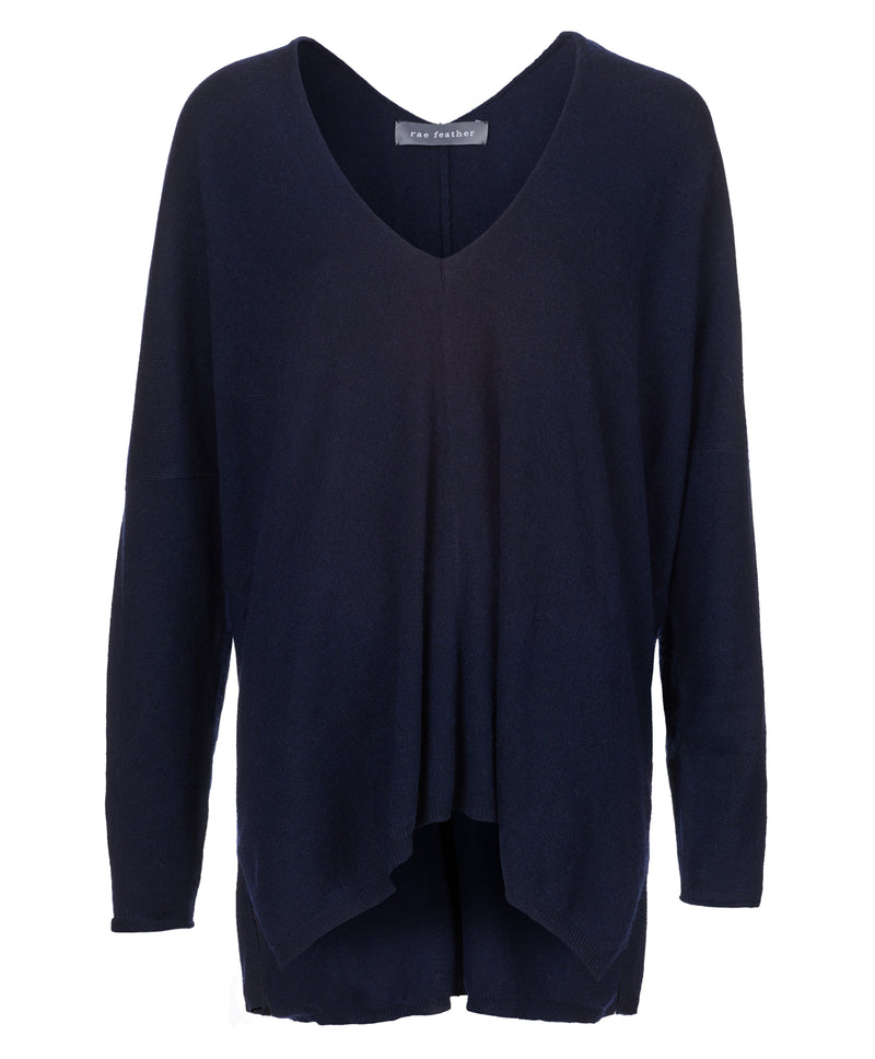 Navy Waterfall Cashmere Wool Blend Sweater