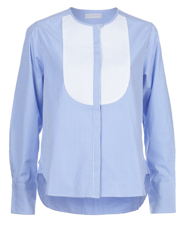 Stripe Bib Front Cotton Shirt